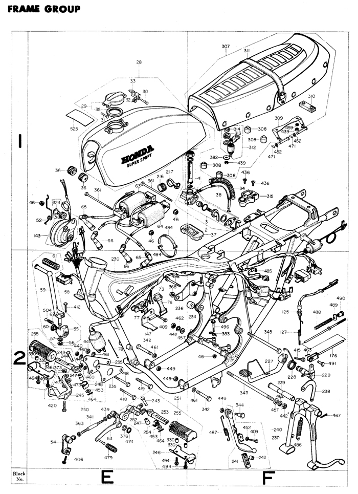 cb400f frame exploded view exploded views parts list 4into1 com vintage honda motorcycle honda motorcycles parts diagram at mifinder.co