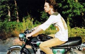 Mick Jagger Rides a Honda Motorcycle