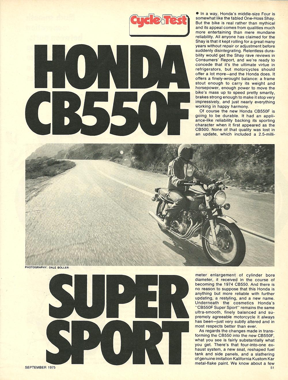 Cycle Test 1975 Honda Cb550f Super Sport 1